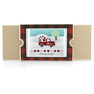 sliding shadow box card truck