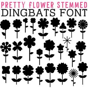 cg pretty flower stemmed dingbats
