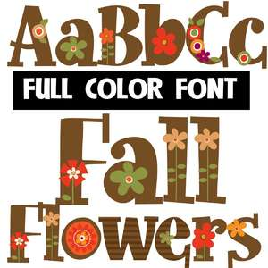 fall flowers color font