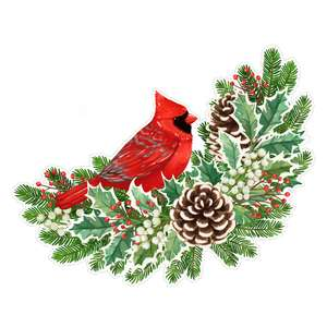holly spray with cardinal painting