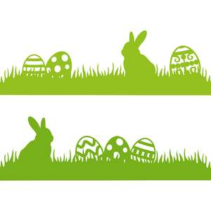 rabbit and easter eggs border