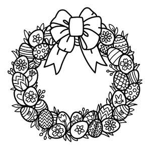 easter egg wreath coloring page