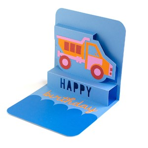 happy birthday dump truck pop-up card