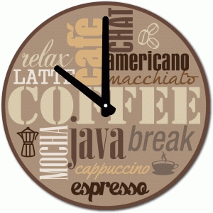 coffee words clock