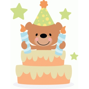 bear in birthday cake