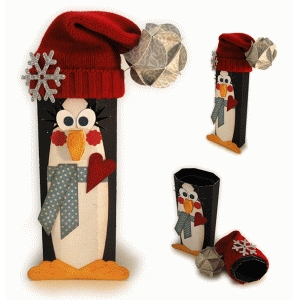 penguin 3d canister with knit hat