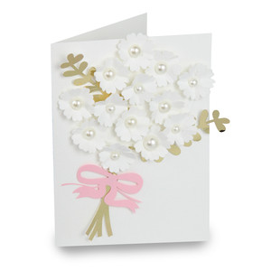 bouquet folded wedding card