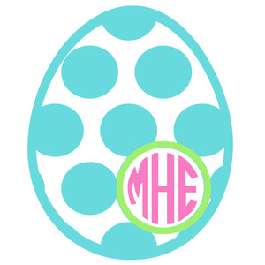 easter egg polka dot monogram frame