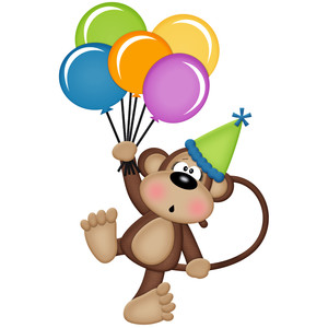 birthday monkey holding balloons