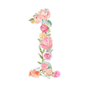 flower monogram number 1