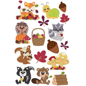 autumn animals sticker