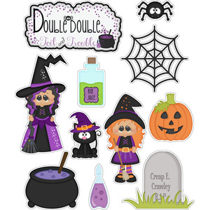 halloween double toil witches stickers