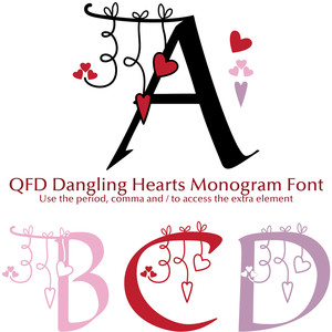 qfd dangling hearts monogram font