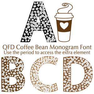 qfd coffee bean monogram font