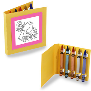 crayon holding square coloring cards - bird swirl
