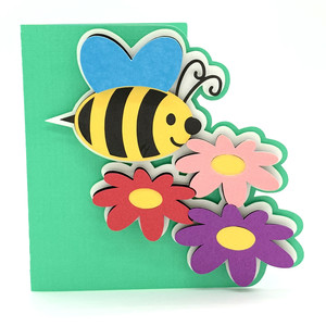 bee and flowers card