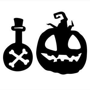 halloween jack-o-lantern with bottle
