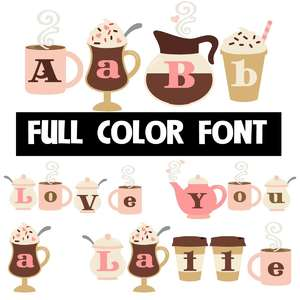 love you a latte color font