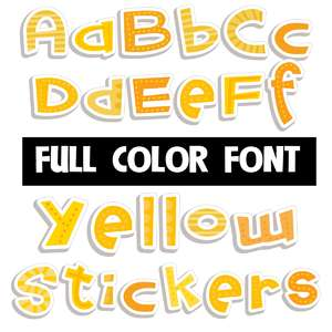 yellow stickers color font