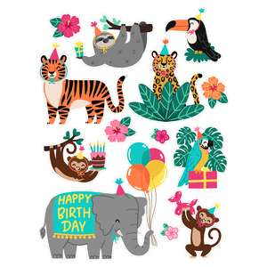 jungle birthday stickers