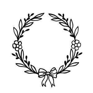 floral wreath with bow tie