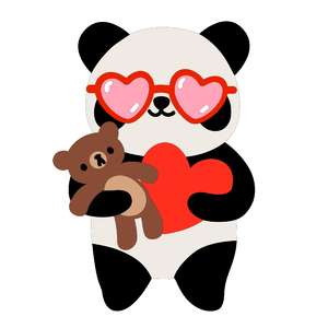 panda with teddy bear and heart