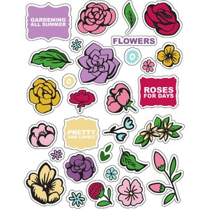 ml vintage flower colors stickers
