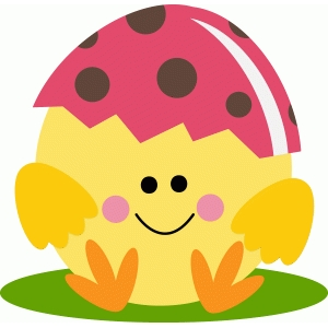 cute easter chick with egg shell hat