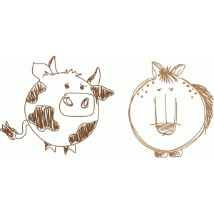cow and horse sketch
