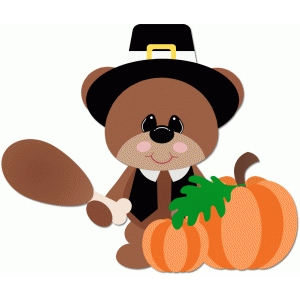 pilgrim bear holding turkey leg thanksgiving