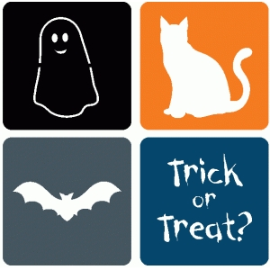 set of 4 halloween square icons