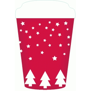 christmas coffee cup flat card