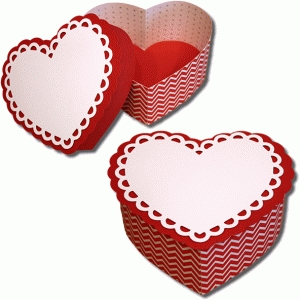 3d ruffled heart box