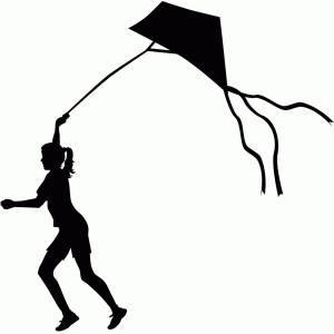 girl flying kite silhouette