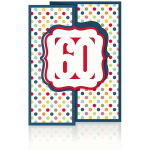 a2 birthday/anniversary flip/swing card year 60