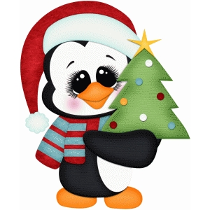 penguin holding christmas tree pnc