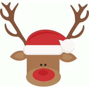 reindeer with santa hat