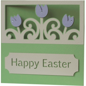 5x5 and 5x7 happy easter tulips layer card