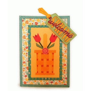 tulip basket welcome spring card