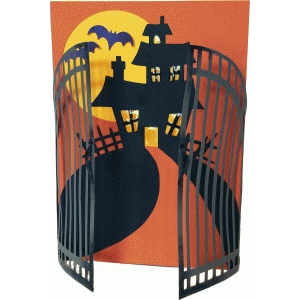 gated haunted house card
