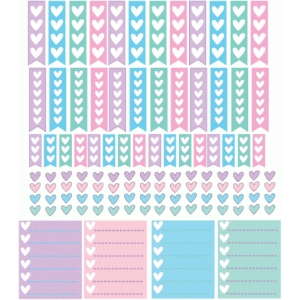pastel heart checklists