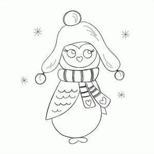 winter owl sketch