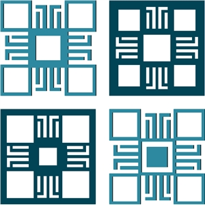 square embellishments - geometric design