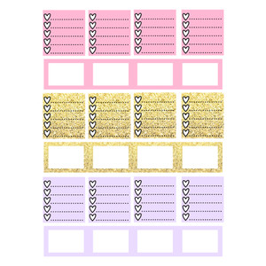 horizontal planner pastel & golden heart check boxes