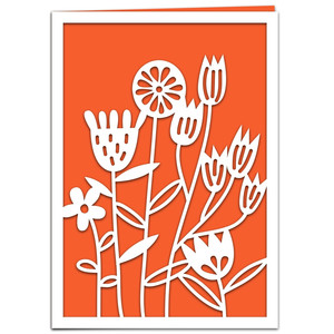 garden flowers papercut card