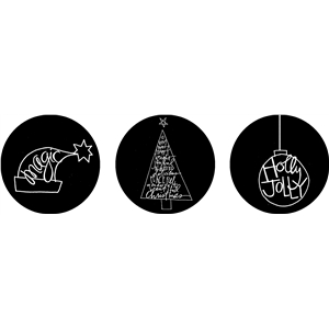 black christmas circle tags