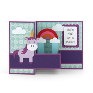 pop up box card unicorn