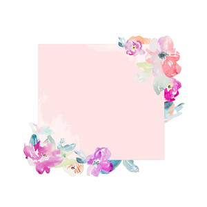 pink watercolor square frame