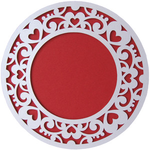 hearts abstract layer round card