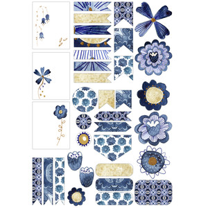 indigo flowers planner stickers